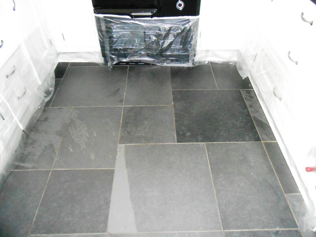 Brazilian Semi Riven Black Slate Floor During Restoration in Windermere