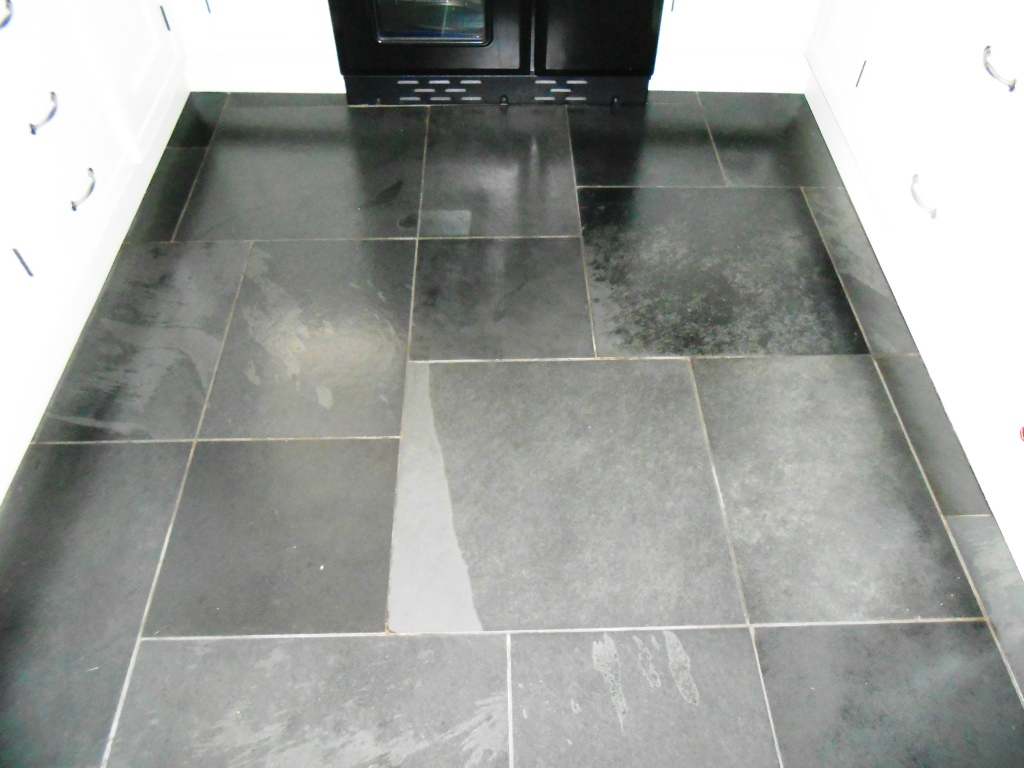 Brazilian Semi Riven Black Slate Floor After Restoration in Windermere