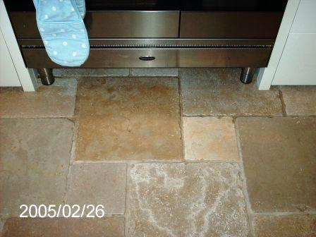 Marble Kitchen Floor Tile After Cleaning and Sealing