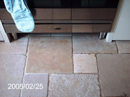 Marble Kitchen Floor Tile BeforeCleaning and Sealing