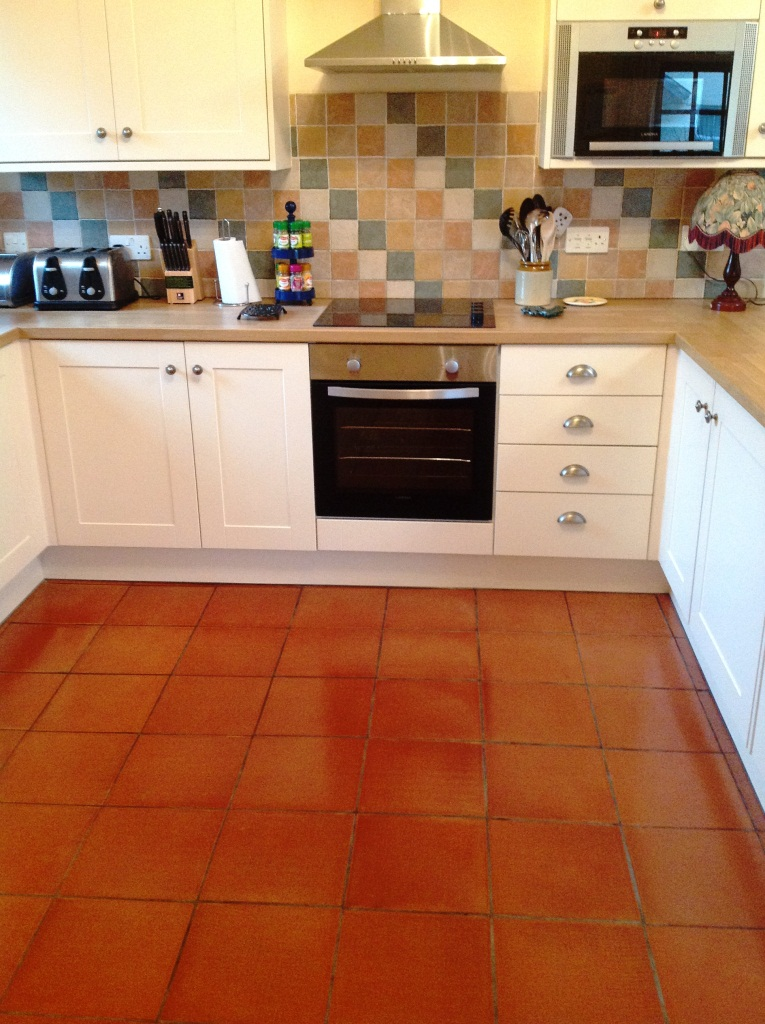 Cockermouth Quarry Tiled Kitchen floor after cleaining 1