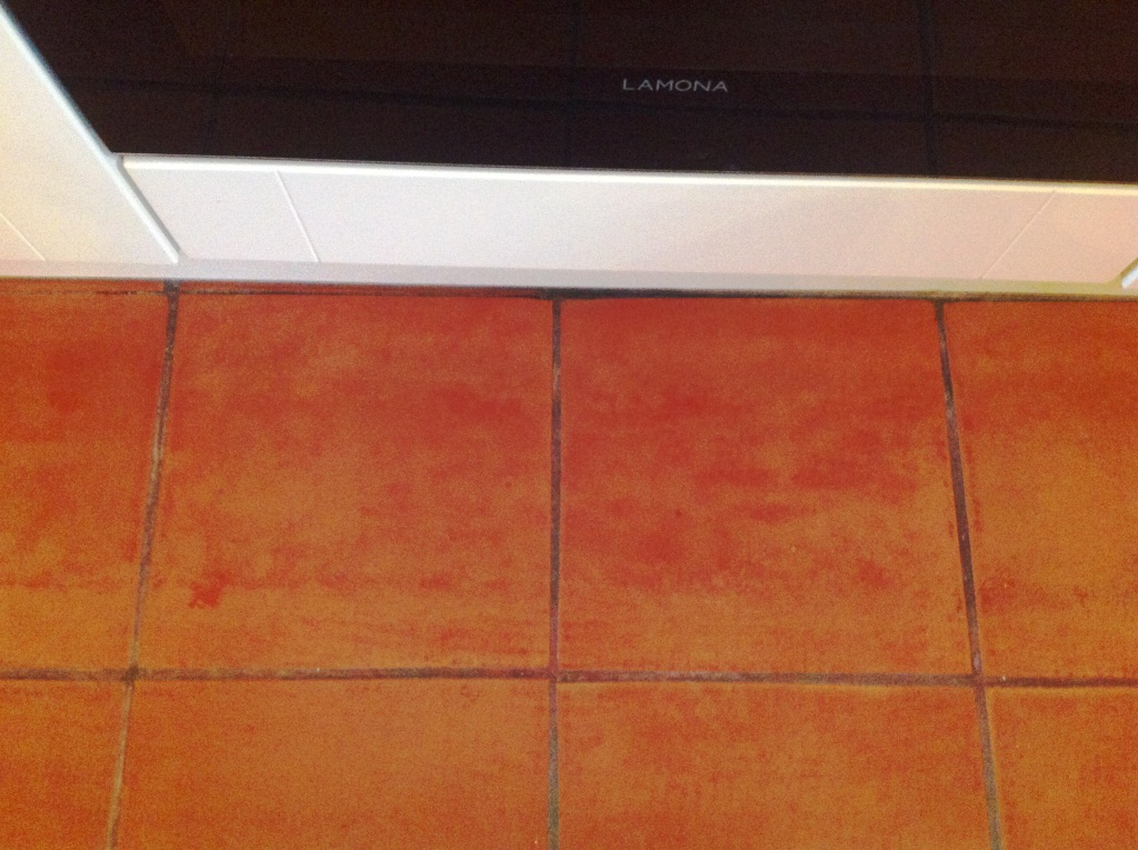 Cockermouth Quarry Tiled Kitchen floor before cleaining 2