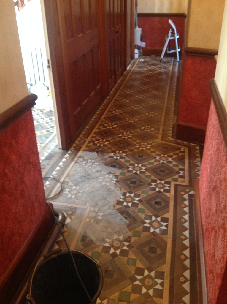Victorian Tiled Floor Windermere During Cleaning