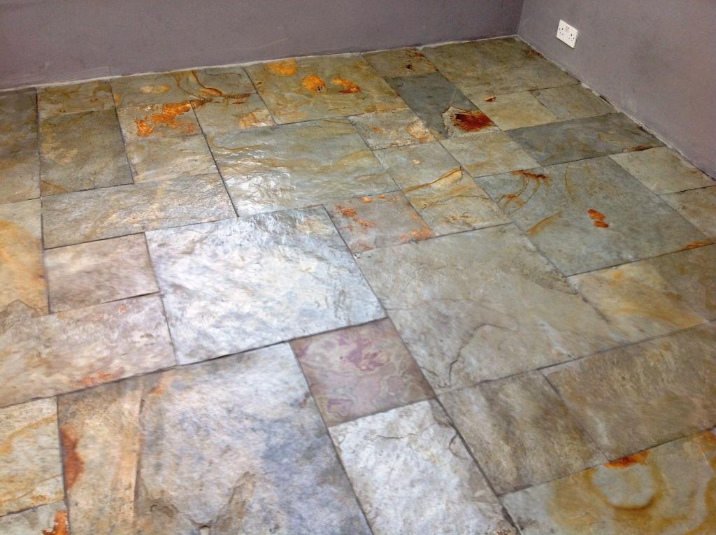 Slate Floor in Ulveston After Sealing