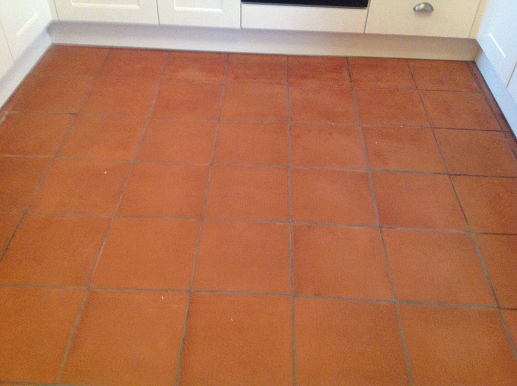 Cockermouth Quarry Tiled Kitchen floor before cleaining 1