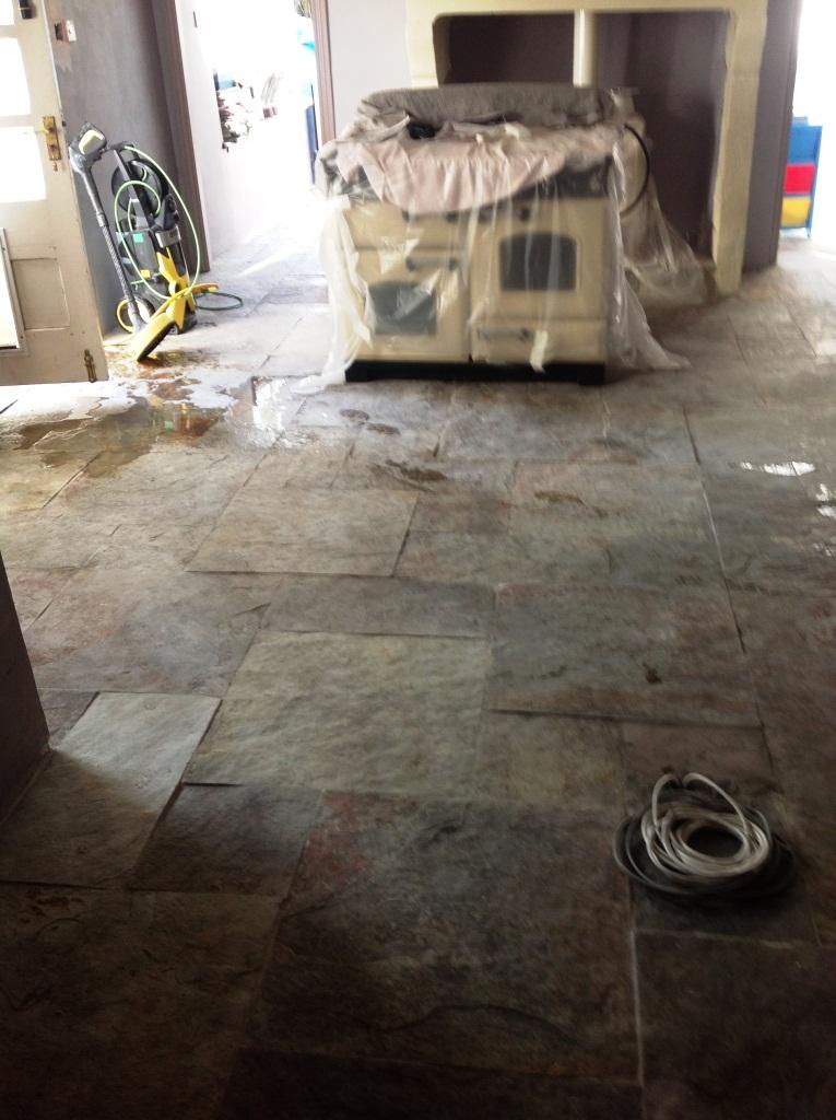 Slate Floor in Ulveston Before Cleaning