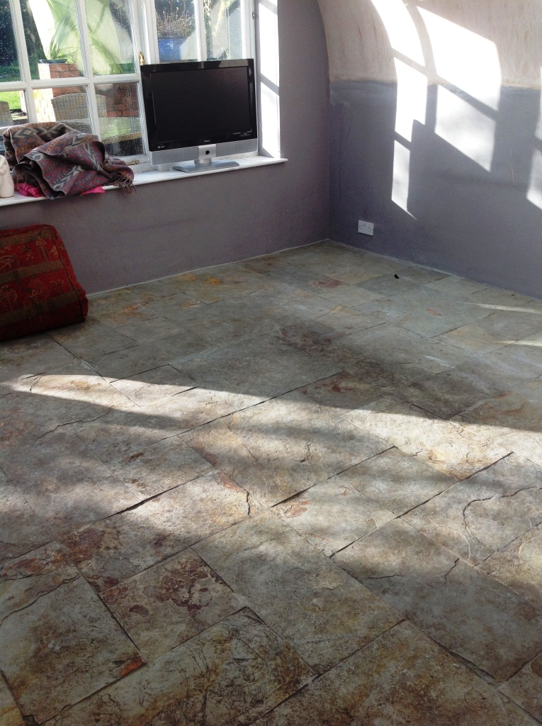 Slate Floor in Ulveston Before Cleaning