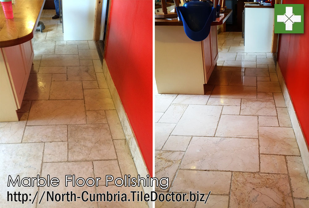 Marble floor before and after polishing in Penrith