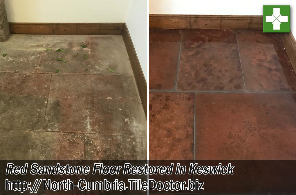 Red Sandstone Floor Before After Restoration Keswick Cumbria