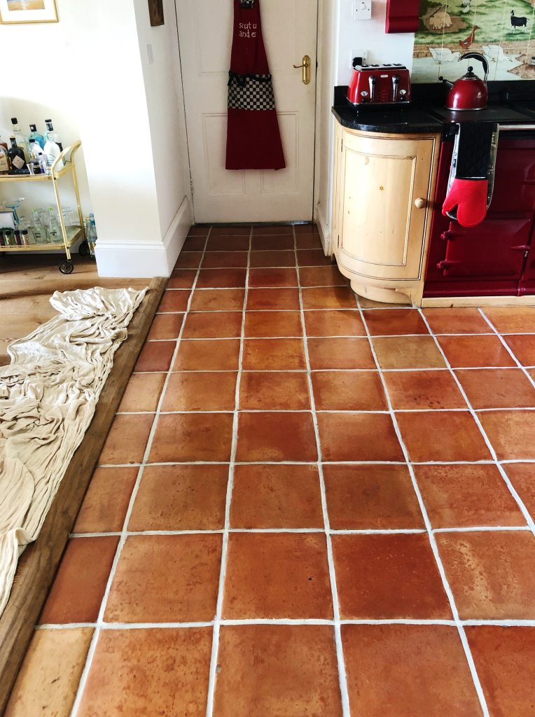 Mexican Terracotta Kitchen Floor After Cleaning Penrith