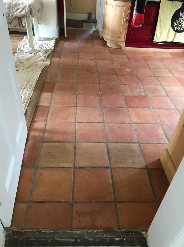 Mexican Terracotta Kitchen Floor Before Cleaning Penrith