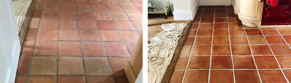 Mexican Terracotta Tiled Floor Before After Clean Seal Penrith