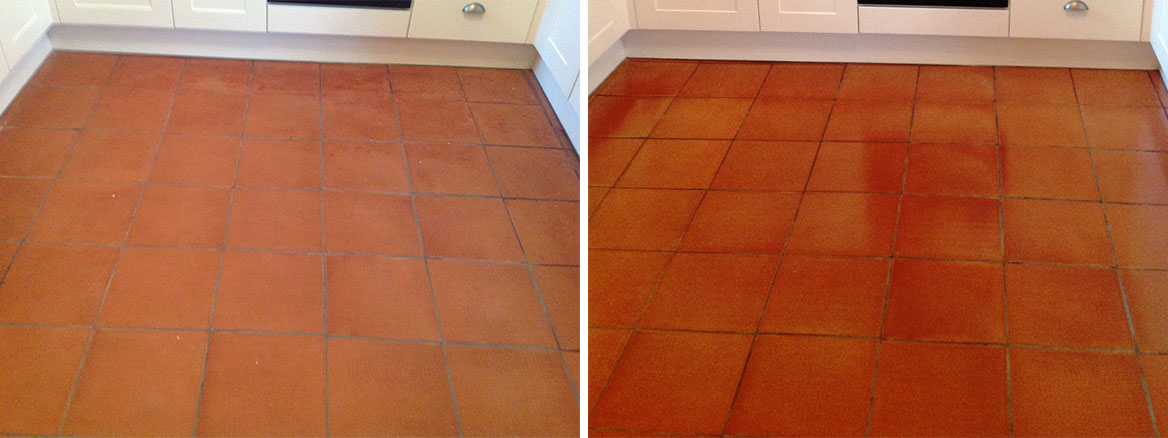 Cockermouth Quarry Tiled Kitchen floor Before and After cleaining