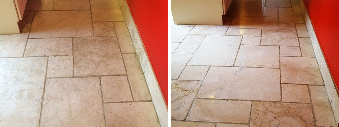 Marble Floor Before and After Cleaning Penrith