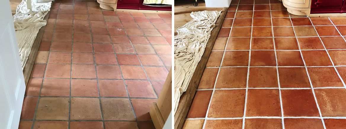 Mexican Terracotta Kitchen Floor Before and After Cleaning Penrith