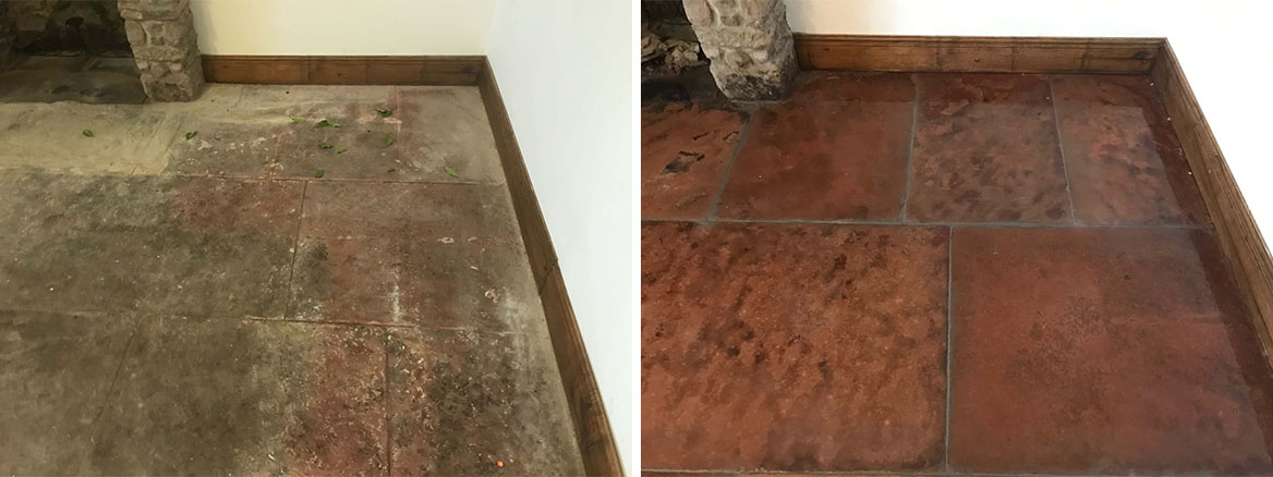 Red Sandstone Flagstones Before and After Renovation Keswick