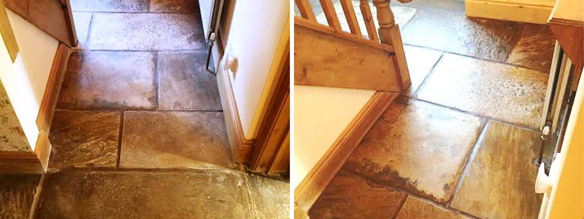 Sandstone floor Before and After milling and sealing in Penrith