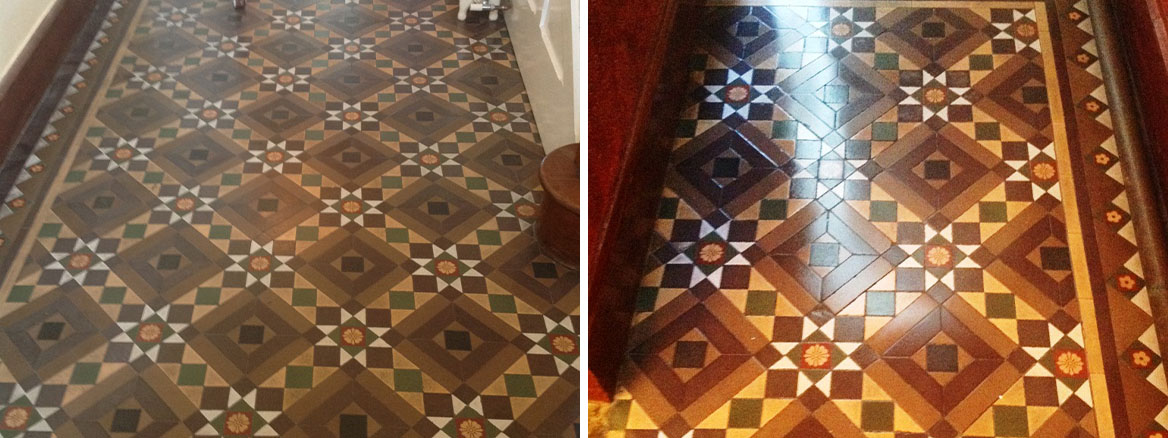 Victorian Tiled Floor Windermere Before and After Cleaning