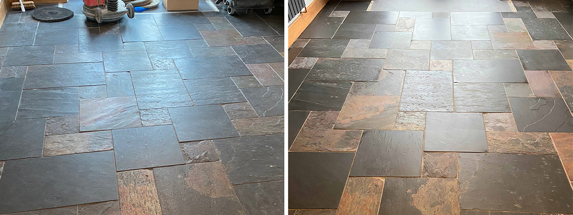 Mixed Slate Kitchen Floor Deep Cleaned in Clifton near Penrith