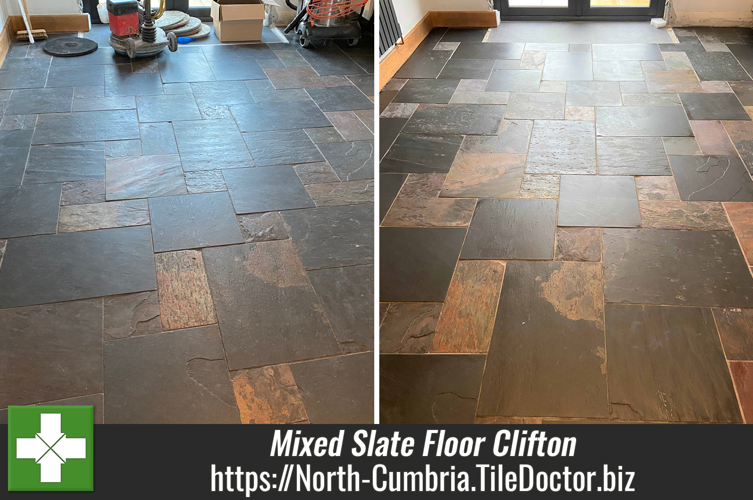 Deep Cleaning a Mixed Chinese Slate Floor in Clifton near Penrith