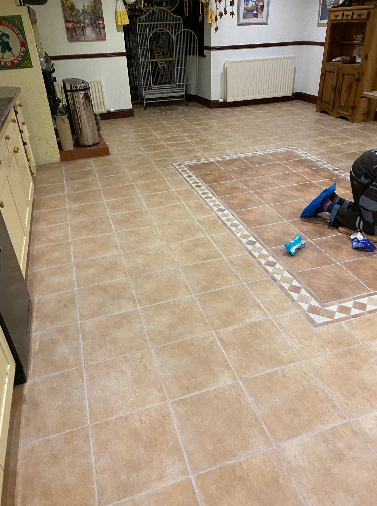 Ceramic Tiled Kitchen Floor After Grout Colouring Keswick