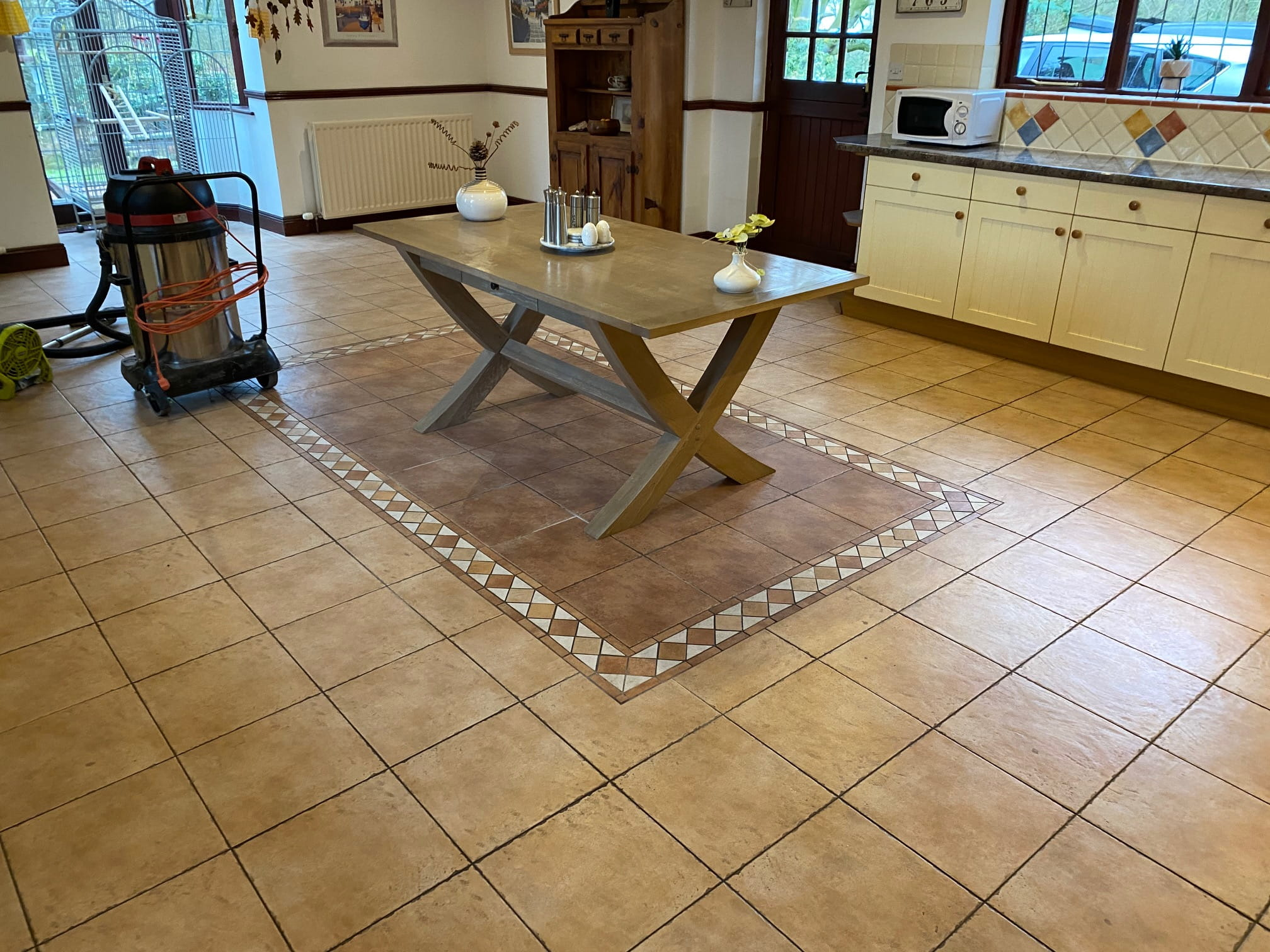 Ceramic Tiled Kitchen Floor Before Grout Colouring Keswick