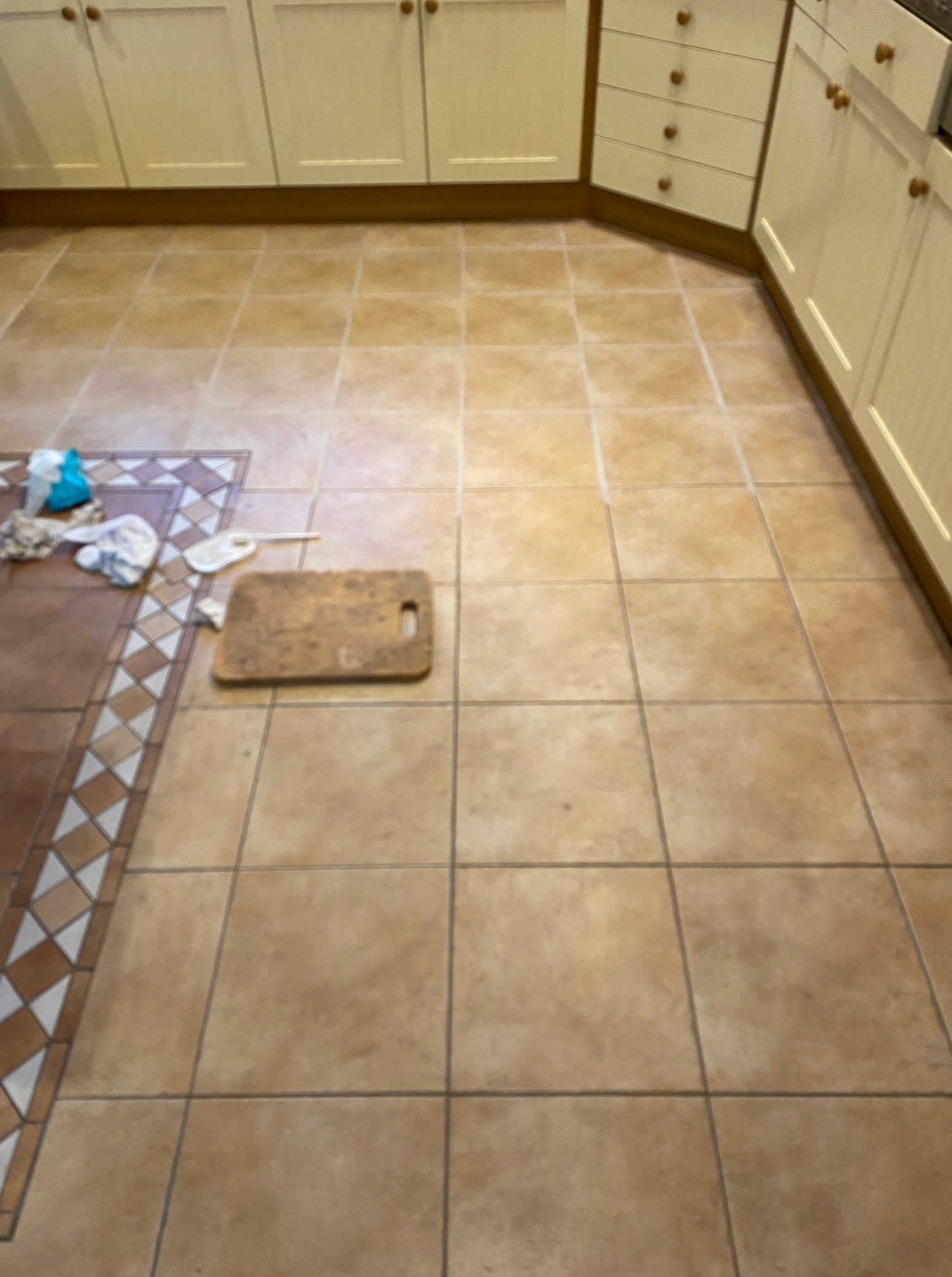 Ceramic Tiled Kitchen Floor During Grout Colouring Keswick