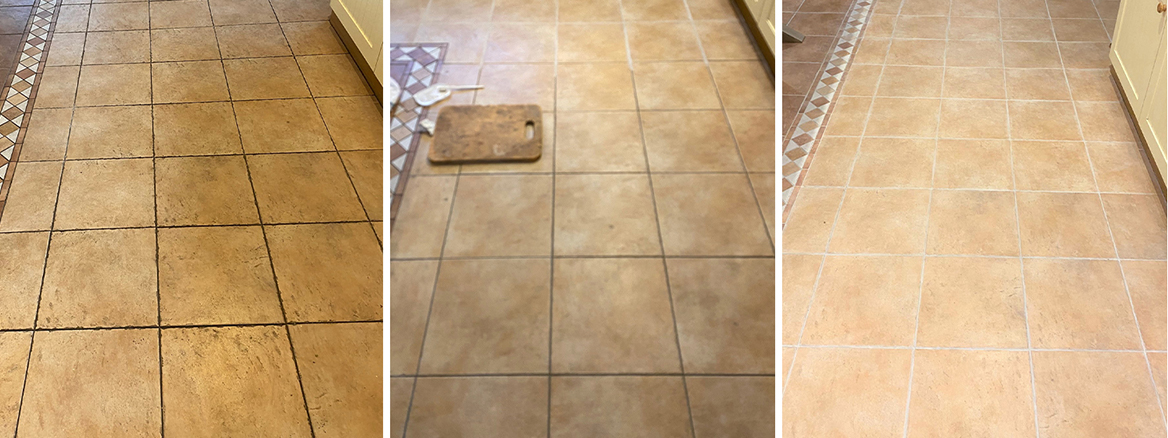 Textured Ceramic Tiled Kitchen Floor Grout Renovated in Keswick
